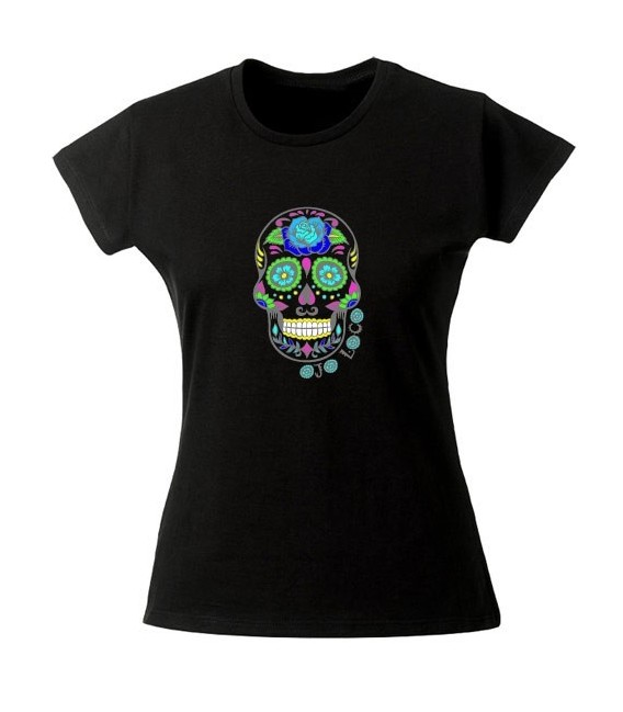 tee shirt femme tete de mort mexicaine noir