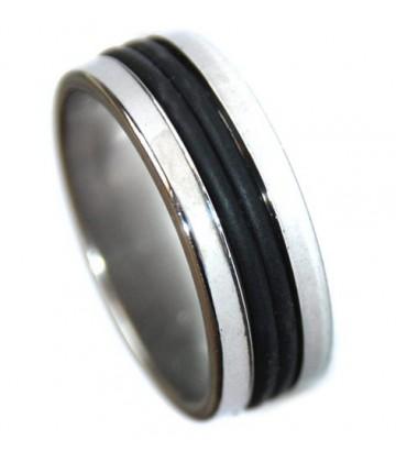 Bague acier/noir 2