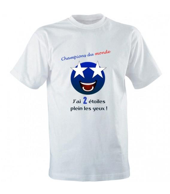 Tee shirt Champions du monde foot avec 2 étoiles