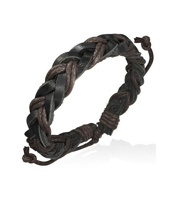 Bracelet Tresse noir/marron